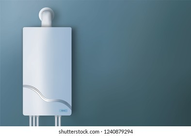 Modern home gas boiler. Heating a house concept Heat up home.3d illustration