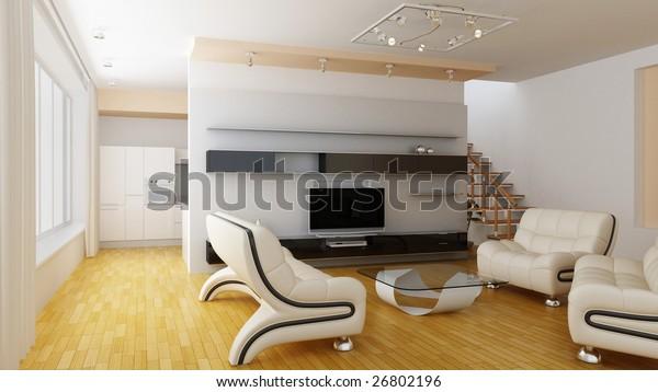 Modern Home Interior   Illustrations/Clip-Art, Interiors Stock Image