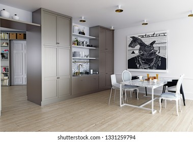 modern home interior.  kitchen zone. 3d rendering concept