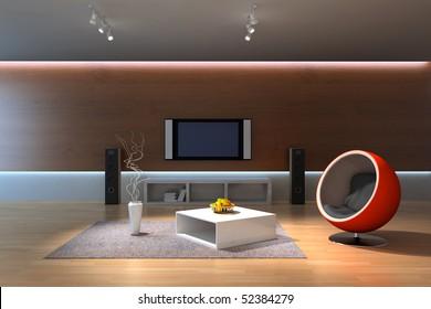 modern home interior.3d render