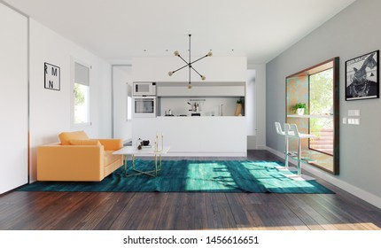 modern home kitchen with table in the window. 3d rendering design concept