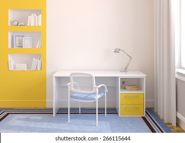 Modern home office interior. 3d render. Pictures in frames was painted by me in photoshop.