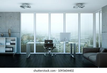 Modern home office interior design 3d Rendering mockup