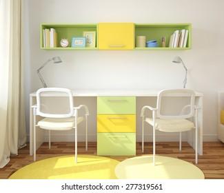 Modern home office for two children. 3d render.