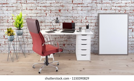 Modern home office work space 3d render 3d illustration