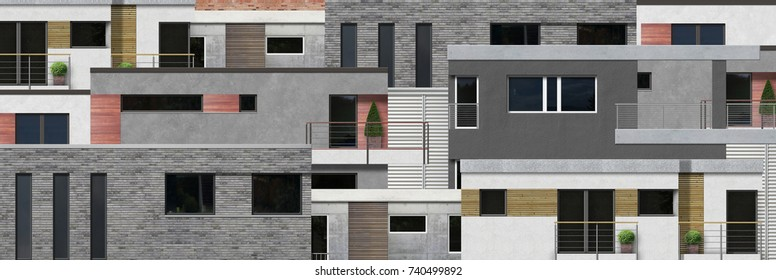 modern home or real estate facade architecture - computer generated image
