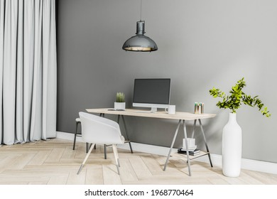 Modern homme office work place with modern computer on wooden table, parquet, white chair and stylish white vase. 3D rendering