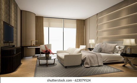 Modern hotel room with tv and window 3d rendering