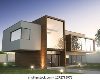 Modern House, 3D illustration