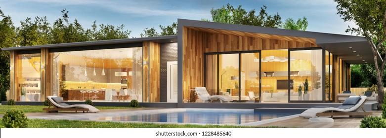 Modern house. 3D rendering.