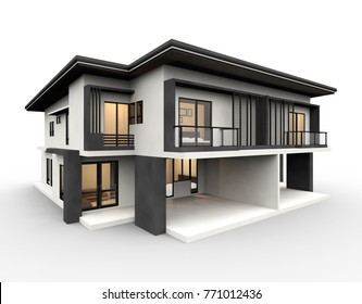 Modern house 3d rendering luxury style isolated on white background