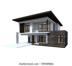 Modern house 3d rendering on white background.