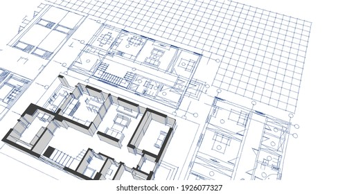 modern house architectural project sketch 3d illustration