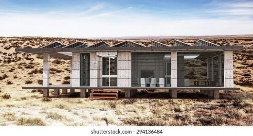 modern house in the desert