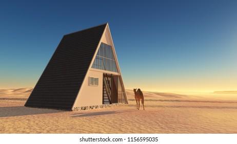 A modern house in the desert.,3d render