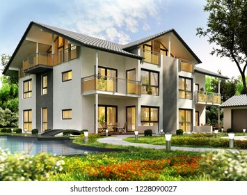 Modern house design with swimming pool. 3D rendering