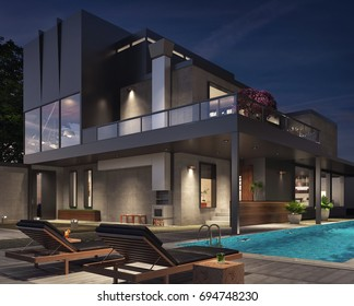 Modern house exterior 3D Rendering, 3D Illustration