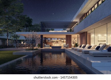 Modern house exterior design at night with swimming pool 3D Rendering, 3D Illustration