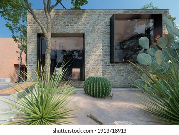 Modern house facade with stone detail, 3d rendering by Estudio Visual Nodo.