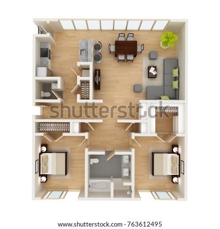 Modern House Floor Plan Top View Stock Illustration 763612495