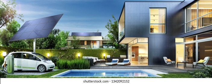 Modern house of the future. Solar panels and electric car in the yard near the swimming pool. 3d rendering