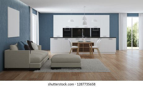 Modern house interior. Interior with blue walls. 3D rendering.