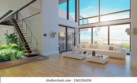 modern house interior design. 3d rendering project