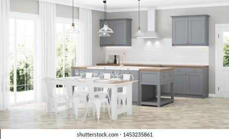 Modern house interior. Interior with gray kitchen. 3D rendering.