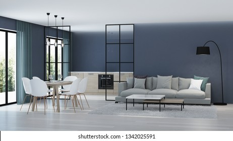 Modern house interior. Kitchen behind glass partitions. 3D rendering.