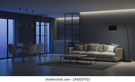 Modern house interior. Kitchen behind glass partitions. Night. Evening lighting. 3D rendering.