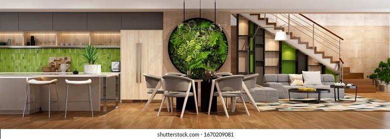 Modern house interior kitchen with living room design. 3D Render