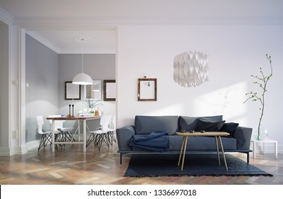 modern house interior. Sofa and dining zone. 3d rendering concept