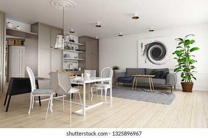 modern house interior. Sofa and kitchen zone. 3d rendering concept