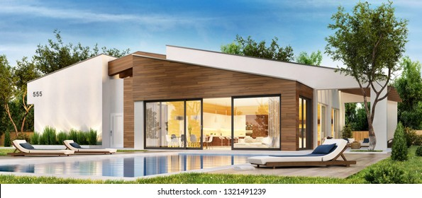 Modern house with large terrace and swimming pool. 3d rendering