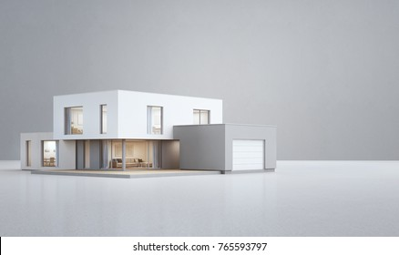 Modern house on white floor with empty concrete wall background in real estate sale or property investment concept, Buying new home for big family - 3d illustration of residential building exterior