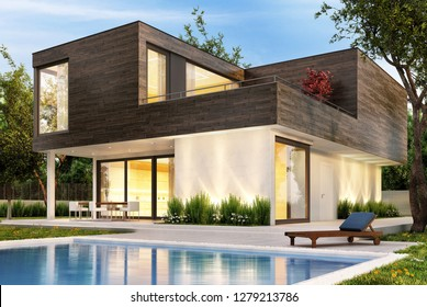 Modern house with pool and evening lighting. 3D rendering