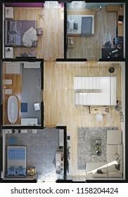 modern house rooms top view. 3d rendering