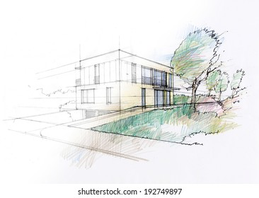 Modern house sketch. Visible process of sketching an idea.