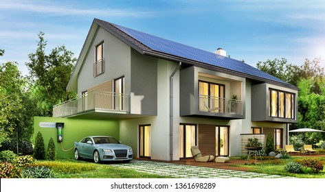 Modern house with solar panels on the roof and electric car. 3D rendering