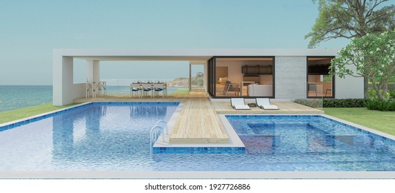 Modern house with a swimming pool, sea view- 3D rendering