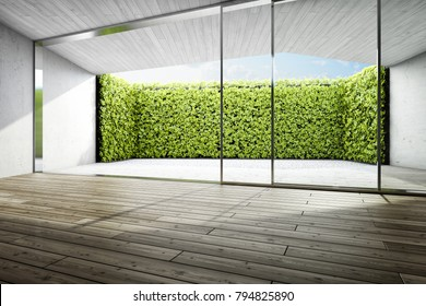 Modern house with terrace in backyard. 3D illustration.
