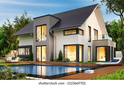 Modern house with terrace and pool. 3D rendering