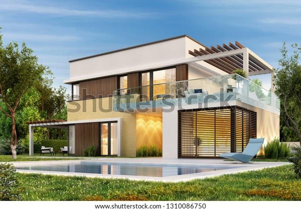 Ilustración De Stock Sobre Casa Moderna Con Terraza Y