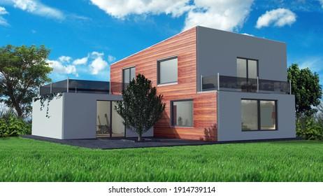 modern house villa 3D illustration
