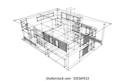 Modern House Wire Frame Stock Illustration 335369453 Shutterstock