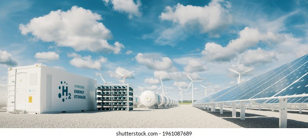 Modern hydrogen energy storage system accompaind by large solar power plant and wind turbine park in sunny summer afteroon light with blue sky and scattered clouds. 3d rendering.