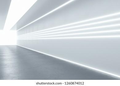 Modern illuminated corridor interior. Hospital concept. 3D Rendering