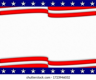 Modern illustrated patriotic stars and waving stripes horizontal background with empty design space through the center for text or illustration