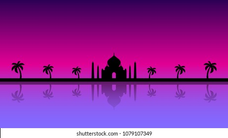 A modern illustration of a fairytale background silhouette in purple and pink
