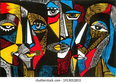 Modern illustration in linocut style. Surreal colored faces with patches of yellow, red, white, blue and black. Stylish image for design.